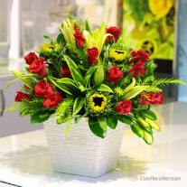 Red & Green Bouquet in Pot
