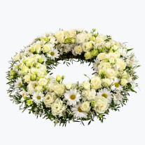 Funeral Wreath with texted ribbon